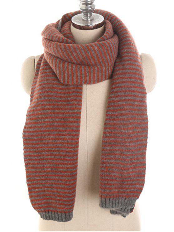 fancy Stylish Striped Winter Long Scarf - FIREBRICK