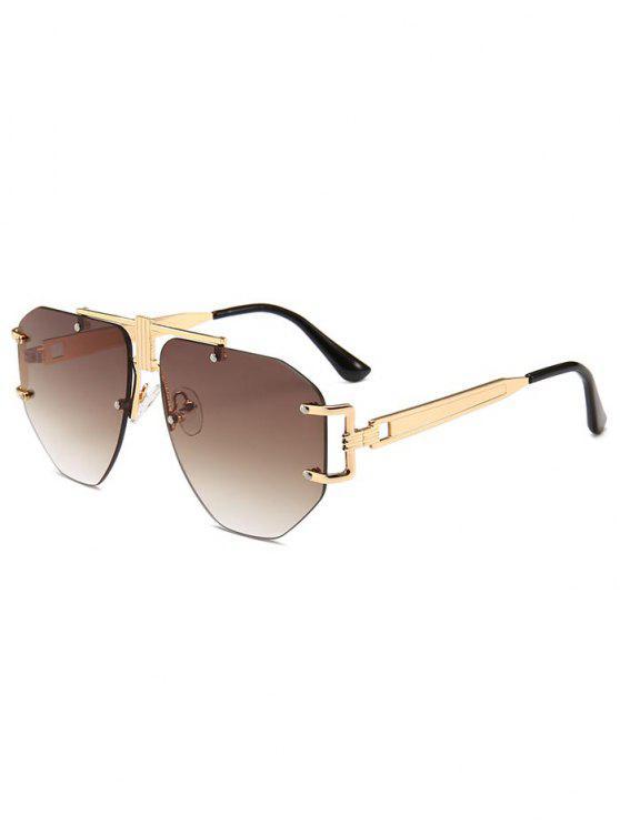 unique Punk Alloy Rimless Sunglasses - COFFEE