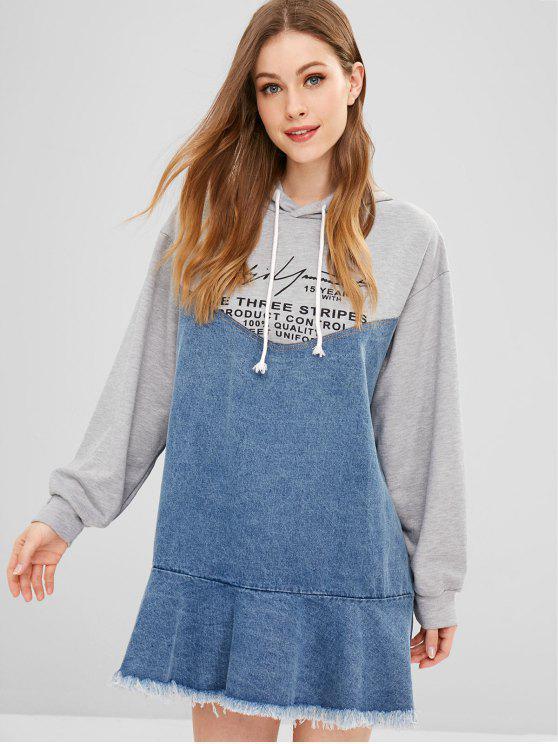 women Raw Hem Graphic Denim Hoodie Dress - MULTI L