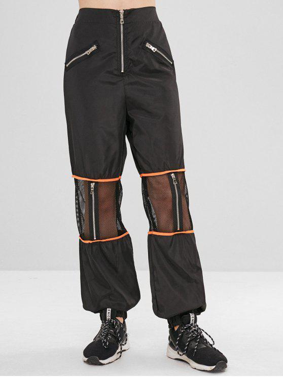 Pantalon de Jogging Zippé Panneau en Maille - Noir L