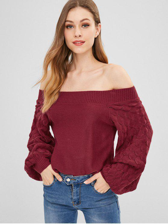 ladies ZAFUL Lantern Sleeve Boxy Sweater - RED WINE ONE SIZE