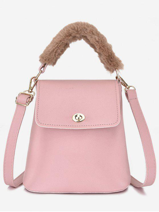 1dd325885abd 23% OFF  2019 Hasp Design Fluffy Bucket Tote Bag In LIGHT PINK