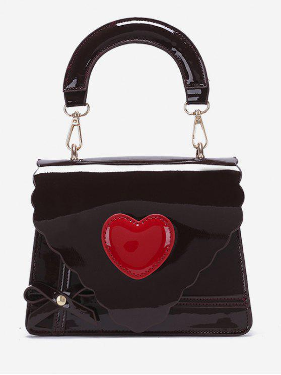 women Patent Leather Heart Design Handbag - COFFEE