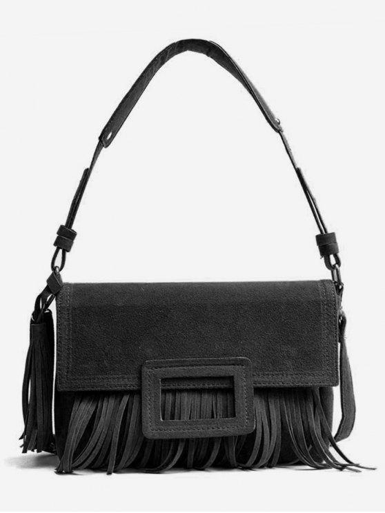 lady Suede Tassel Design Handbag - BLACK