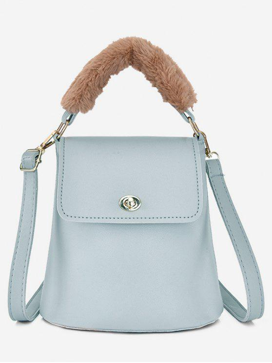 outfits Hasp Design Fluffy Bucket Tote Bag - PALE BLUE LILY