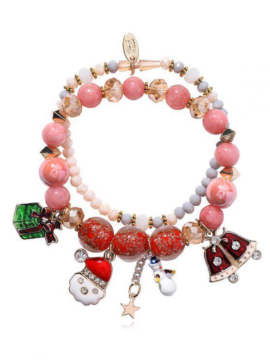 Bracelet Charmant Perlé Bonhomme de Neige - ROSE PÂLE