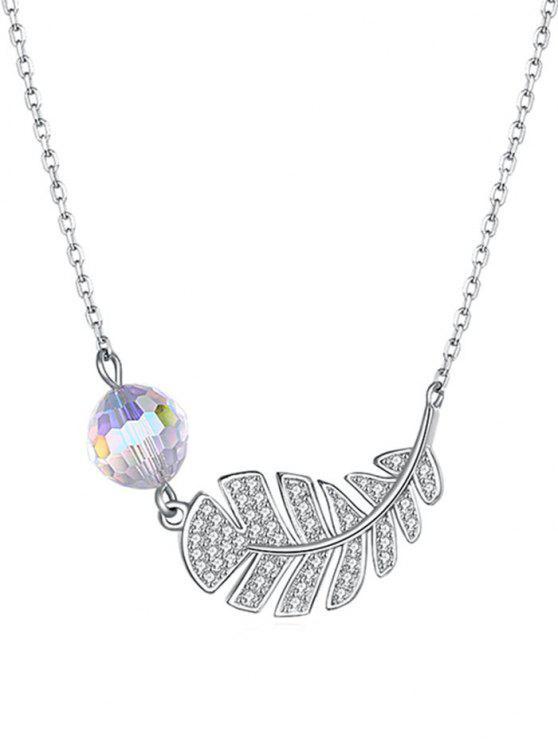women Platinum Plated Leaf Shape Drop Necklace - TRANSPARENT