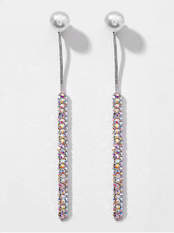 women's Faux Pearl Decoration Long Drop Earrings - SILVER
