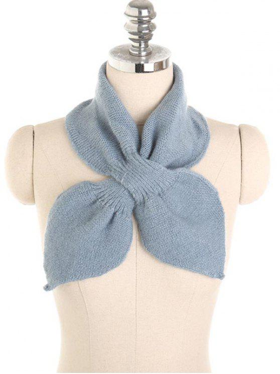 fashion Solid Color Crochet Scarf - DENIM BLUE