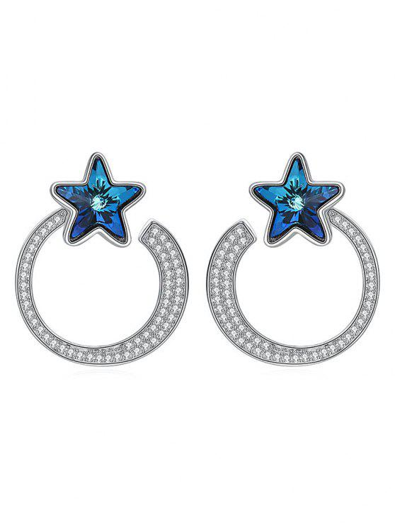 chic Platinum Plated Rhinestone Hollow Earrings - NAVY BLUE