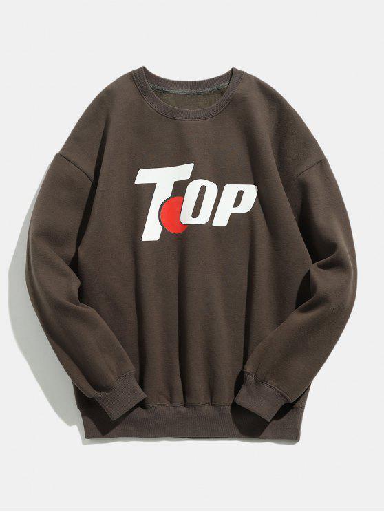 Sweat-shirt d'Hiver Décontracté Motif en Haut - Taupe S