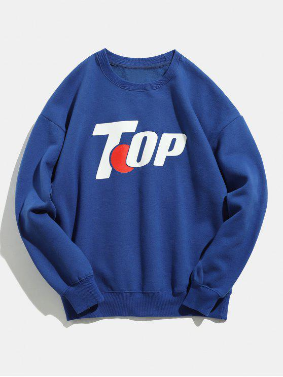 outfit Top Pattern Winter Casual Sweatshirt - BLUE 2XL