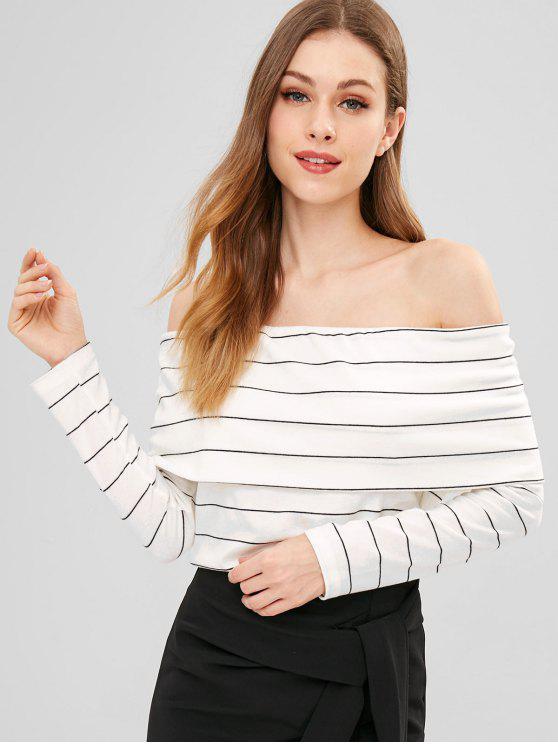e119e31f13f201 30% OFF] 2019 Folded Striped Off The Shoulder Top In WHITE   ZAFUL