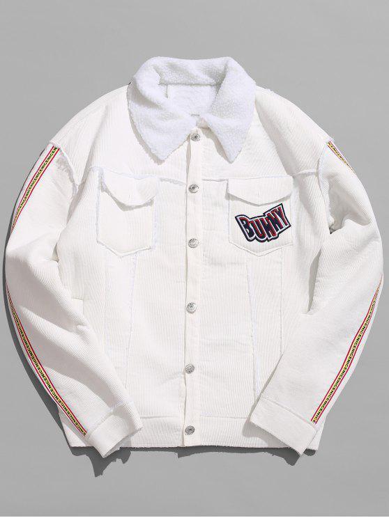 best Turn Down Collar Graphic Sherpa Jacket - WHITE 2XL