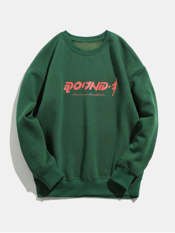 Sweat-shirt Cercle Imprimé à Col Rond - Vert profond S