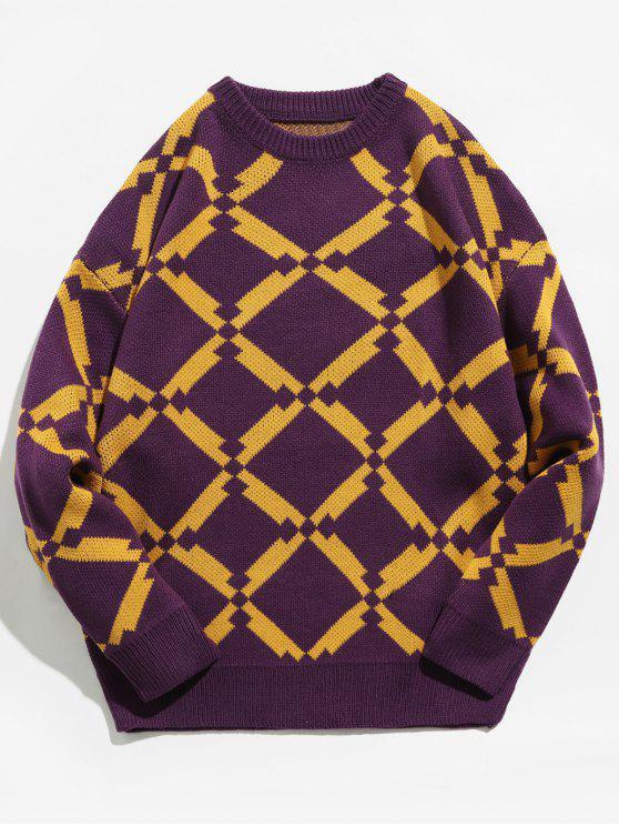 Maglione Pullover Geometrico - Viola M