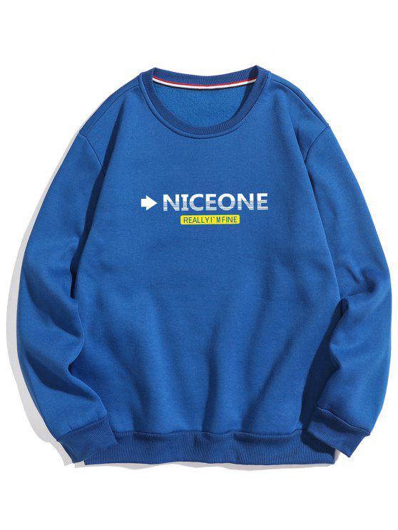 Sweat-shirt en molleton avec lettre de poitrine - Bleu Myrtille S