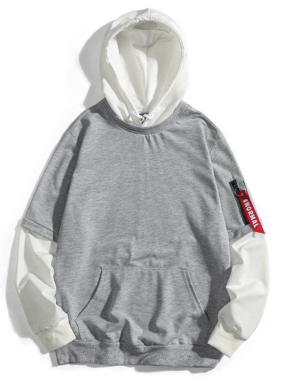 Handabdruck falscher zweiteiliger Hoodie - Grau XS