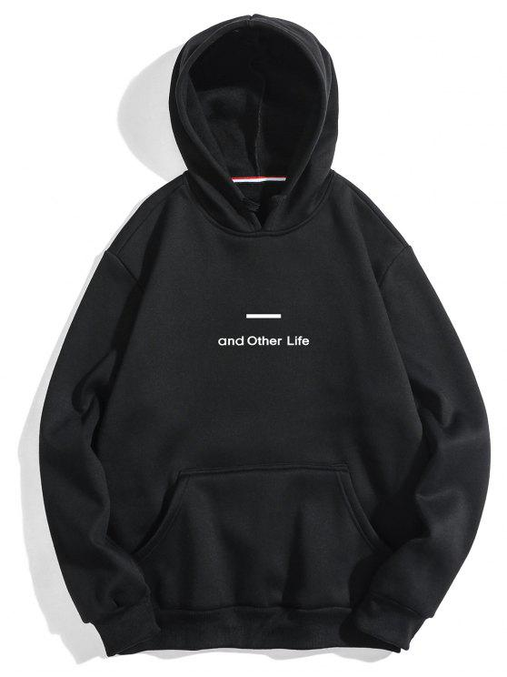 womens Letter Soft Fleece Hoodie - BLACK XL