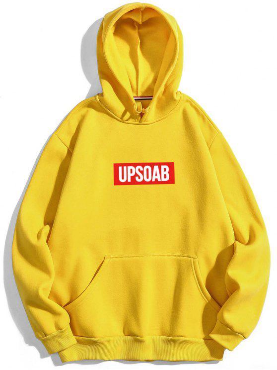 Grafischer Pullover Fleece Hoodie - Gelb XL