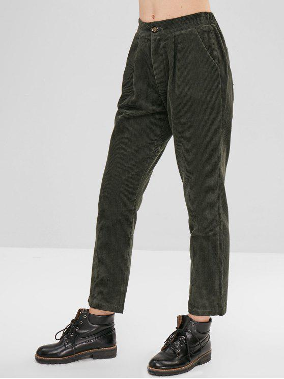 Corduroy Pencil Pants With Pocket   Dark Green S by Zaful