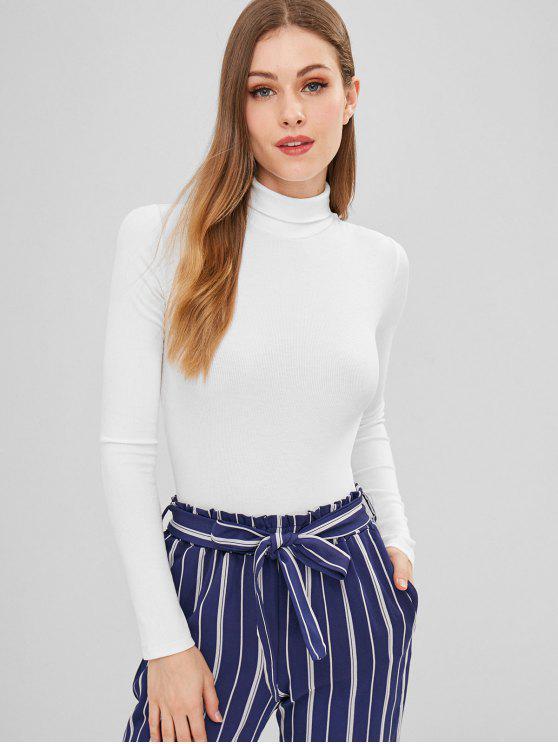 buy Mock Neck Long Sleeves Bodysuit - WHITE S