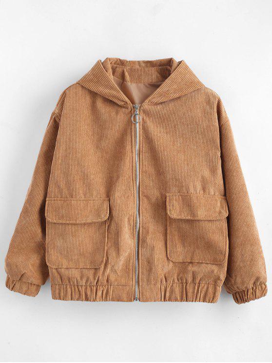 outfits Hooded Drop Shoulder Zipper Jacket - CAMEL BROWN M