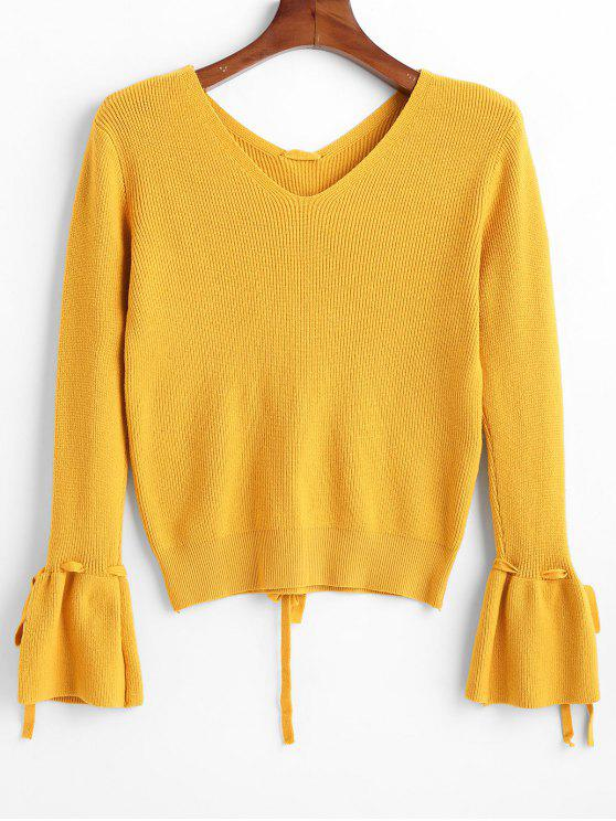 latest Threaded Bell Sleeve Sweater - MUSTARD ONE SIZE