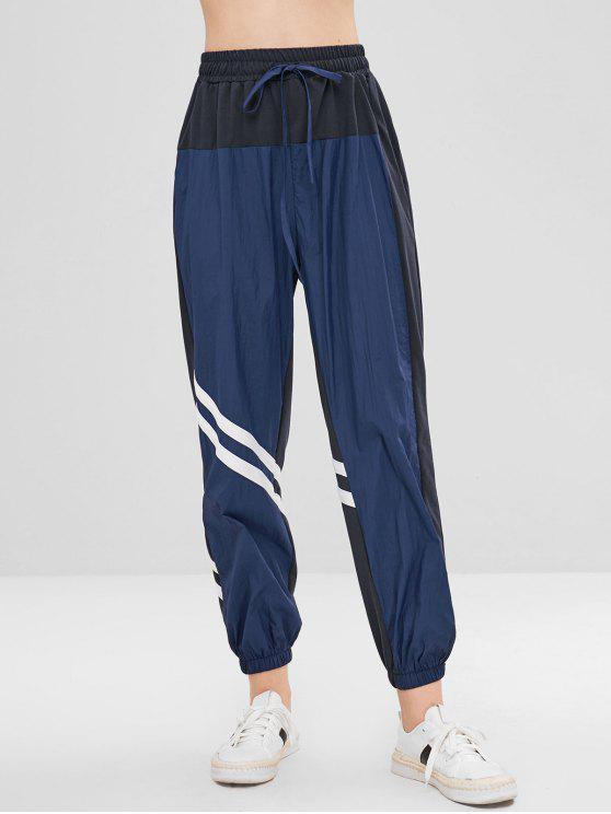 Calças de jogger com cordão Stripes - Azul da Meia Noite L