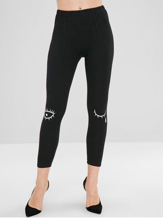 Calça Skinny Imprimir Cílios Skinny - Preto L