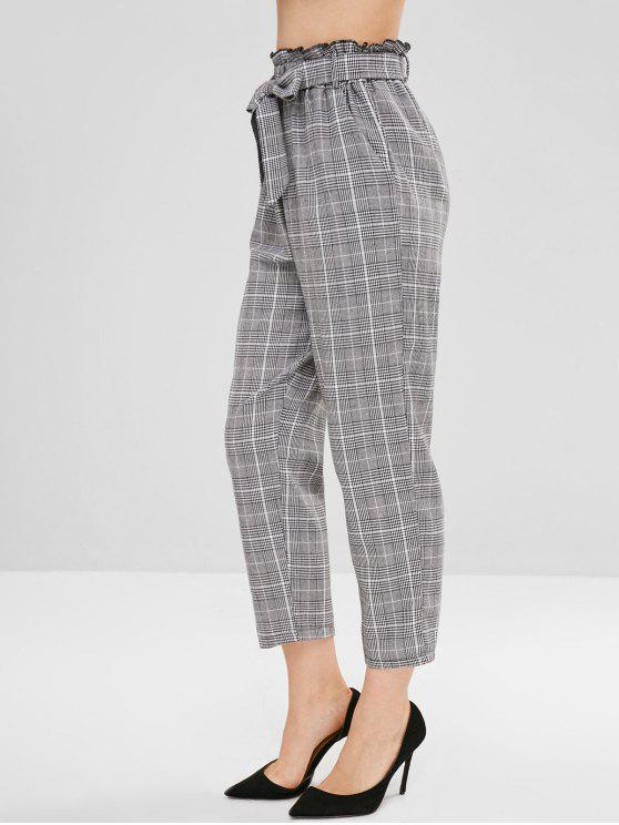hot Plaid Belted Straight Pants - MULTI L