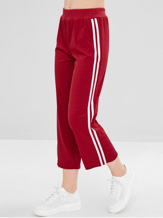 Calças Listras Corridas Retas - Vermelho Cereja M