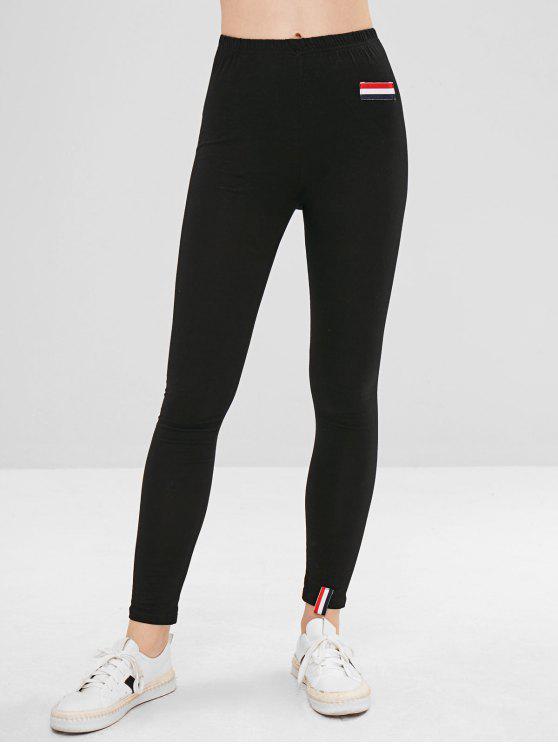 Listras remendadas calças skinny - Preto M