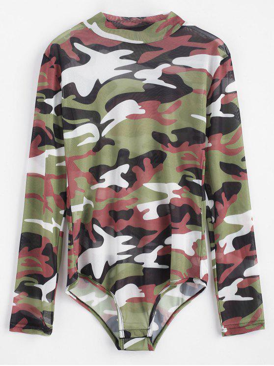 Bodysuit do botão da pressão da camuflagem - Camuflagem da Madeira  M