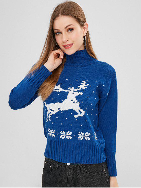 Elk Graphic Mock Neck Sweater - Azul cobalto Um Tamanho