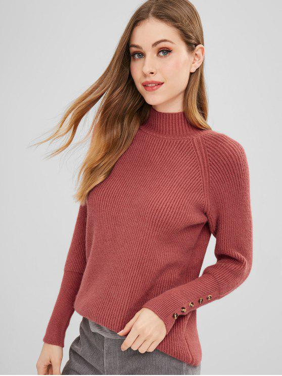 Suéter con cuello simulado con puños abotonados - Rojo Cereza Talla única