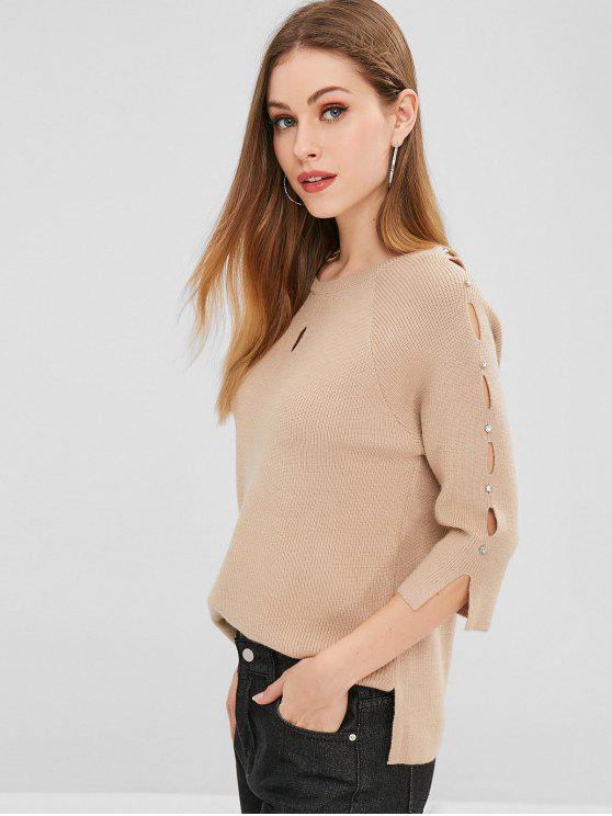 Nietenbesetzter Cutout Sweater - Helles Khaki Eine Größe