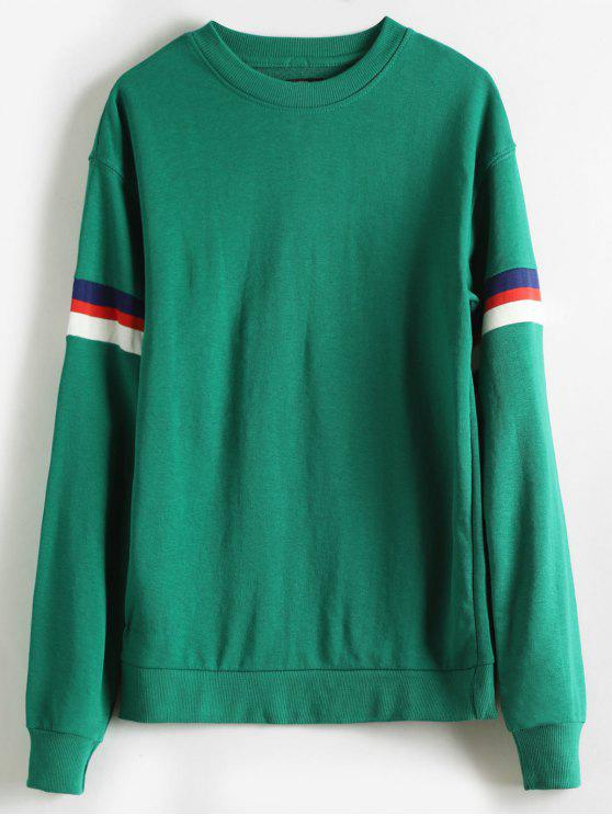 Streifen-Detail-Rundhals-Sweatshirt - Meergrün S