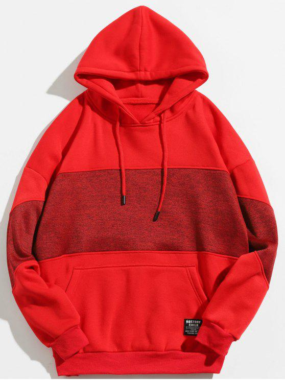 womens Drop Shoulder Panel Hoodie - CHESTNUT RED L