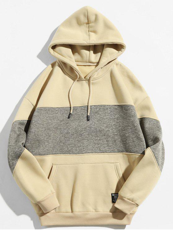 women's Drop Shoulder Panel Hoodie - LIGHT KHAKI 2XL