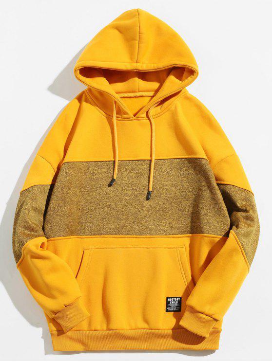 trendy Drop Shoulder Panel Hoodie - GOLDENROD 2XL