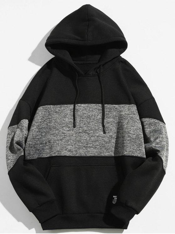 affordable Drop Shoulder Panel Hoodie - BLACK L