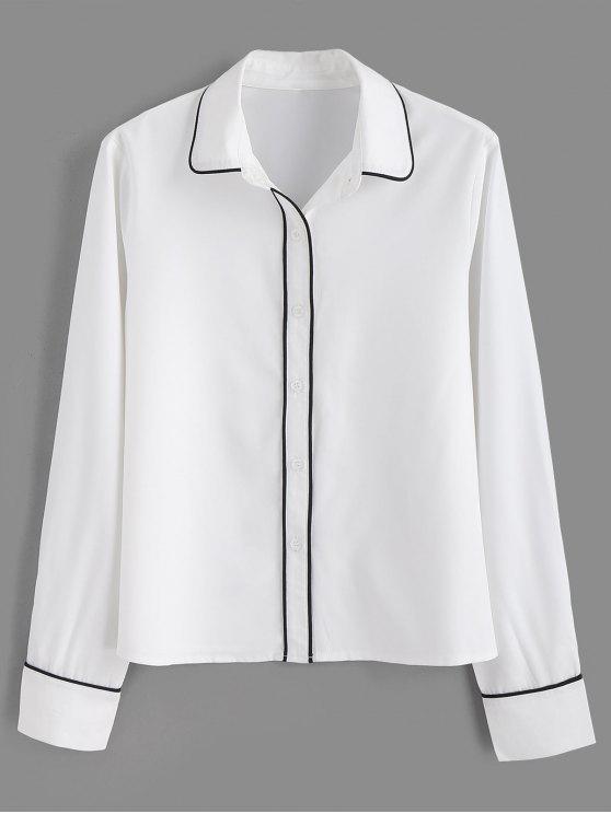 Paspeliertes, eng geschnittenes Hemd - Weiß M