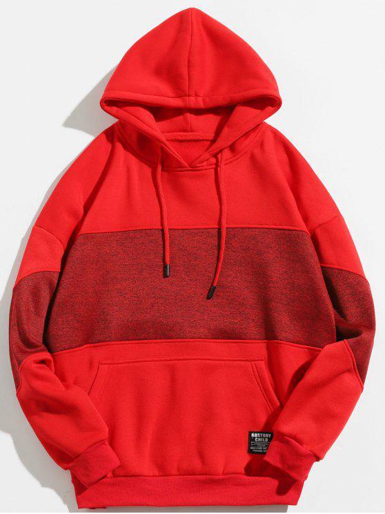 women's Drop Shoulder Panel Hoodie - CHESTNUT RED XL