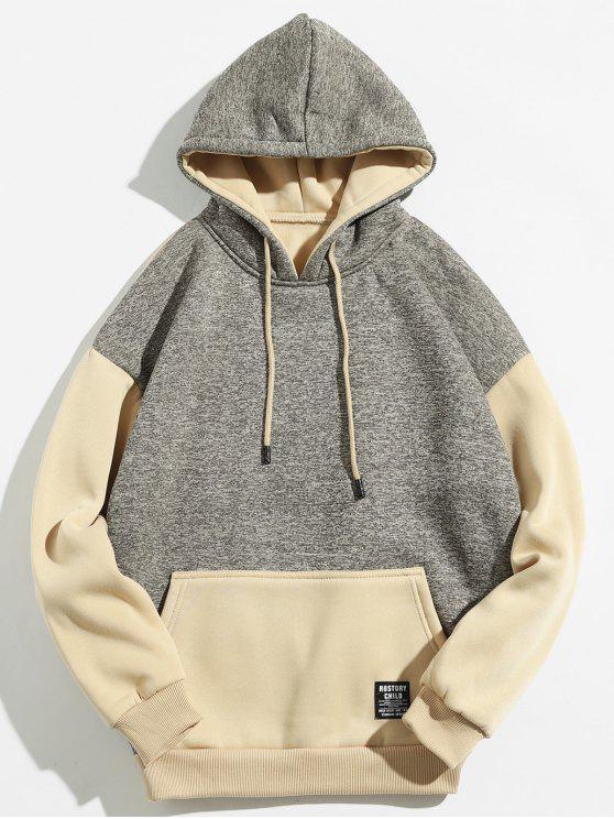 Kangaroo Pocket Contrast Color Hoodie - Caqui Claro M