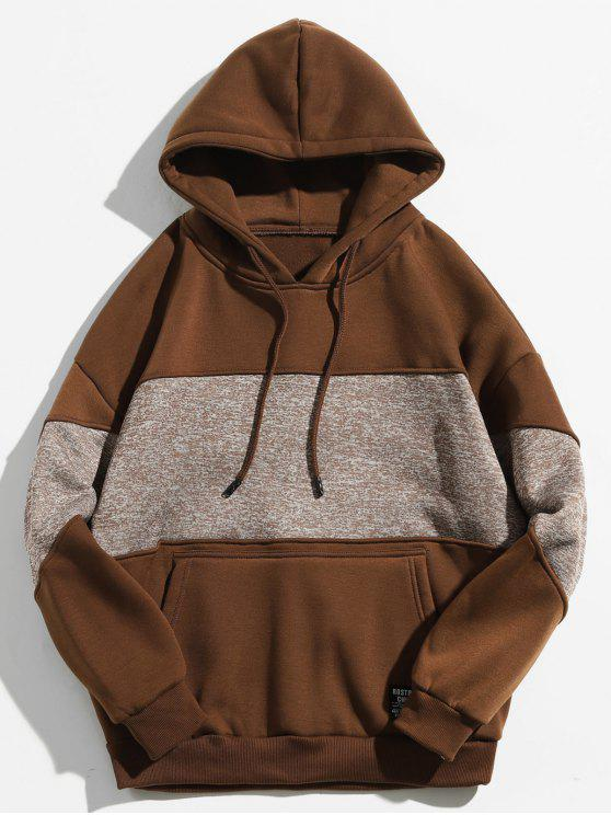 affordable Drop Shoulder Panel Hoodie - COFFEE 2XL