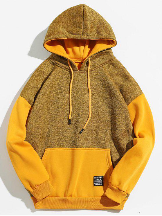 Känguru-Tasche Kontrastfarbe Hoodie - Sonne Gelb 2XL