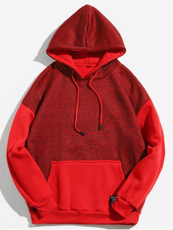 Känguru-Tasche Kontrastfarbe Hoodie - Kastanie Rot M