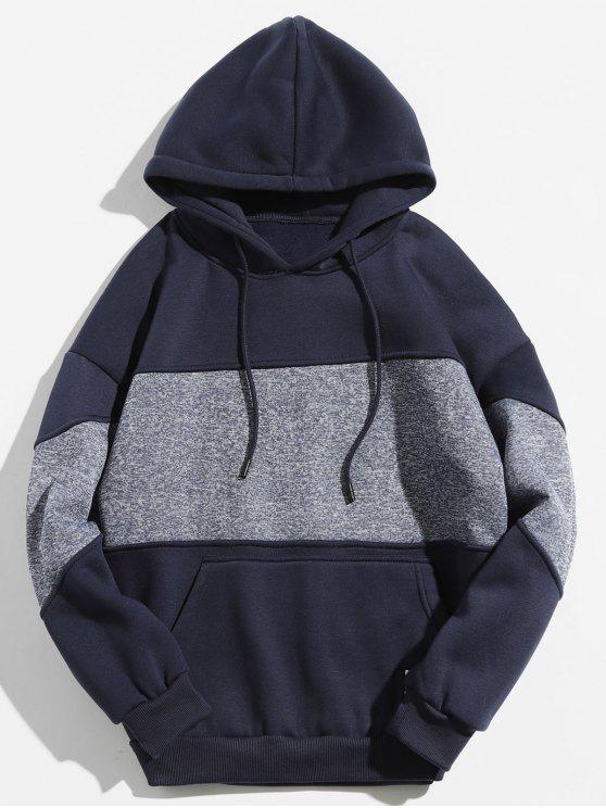 unique Drop Shoulder Panel Hoodie - DEEP BLUE L