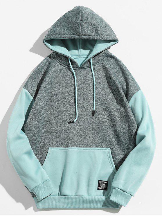 495a0202109 Sweat à capuche de couleur contrastante avec poche kangourou - Bleu Léger M
